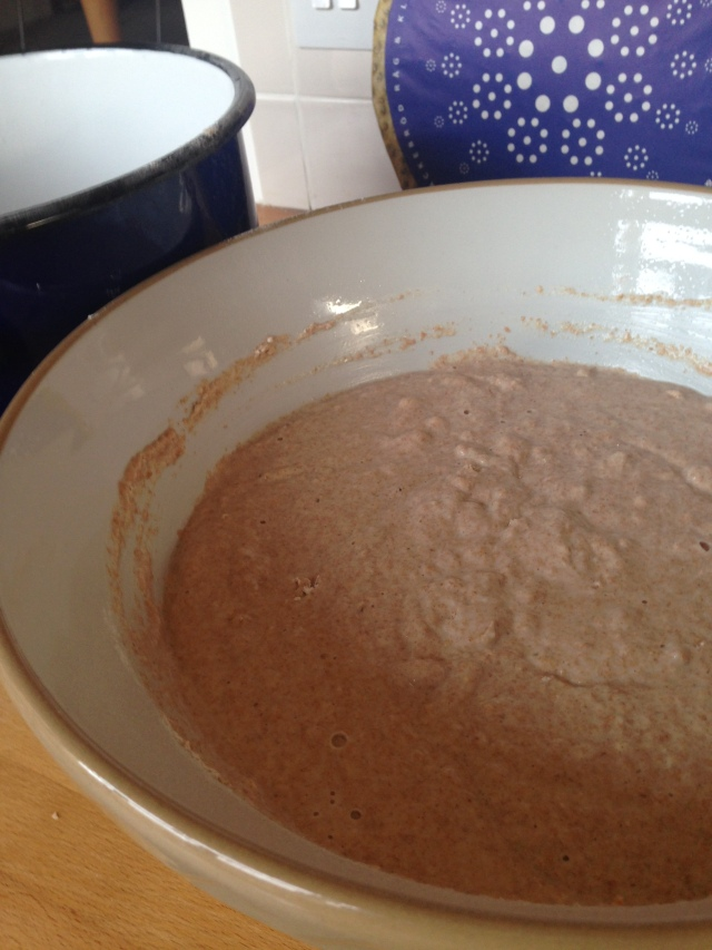 Add flour till thick porridge consistency