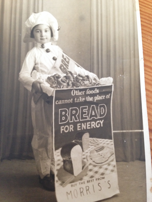 Mum, aged about 5, in fancy dress.  See those bread buttons!