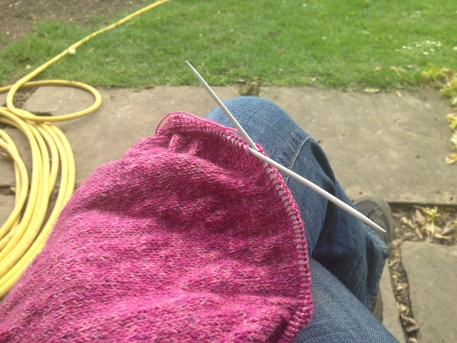 Knitting and garden hose